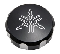 "Billet Yamaha R1/R6 (98-08) Master Cylinder Reserve Cap ""Engraved"", Anodized Black (product code# YA2532)"